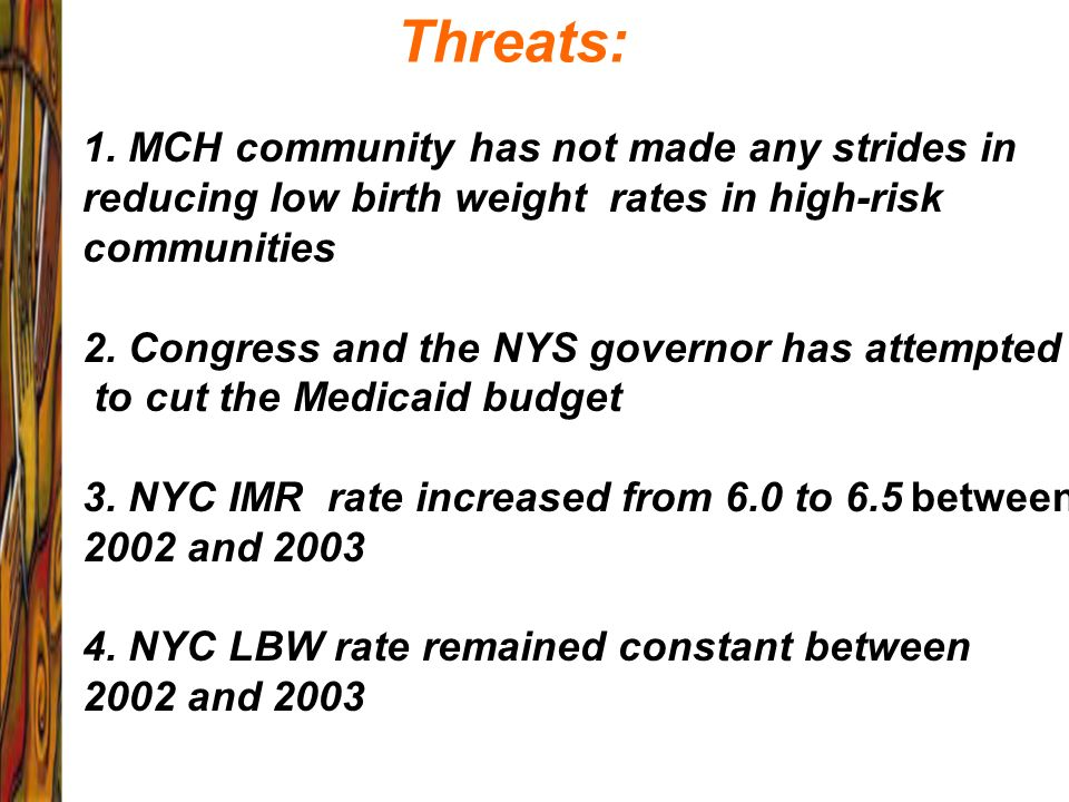 Threats: 1. MCH community has not made any strides in reducing low birth weight rates in high-risk communities 2. Congress and the NYS governor has at