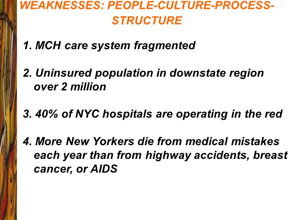 WEAKNESSES: PEOPLE-CULTURE-PROCESS- STRUCTURE 1. MCH care system fragmented 2. Uninsured population in downstate region over 2 million 3. 40% of NYC h