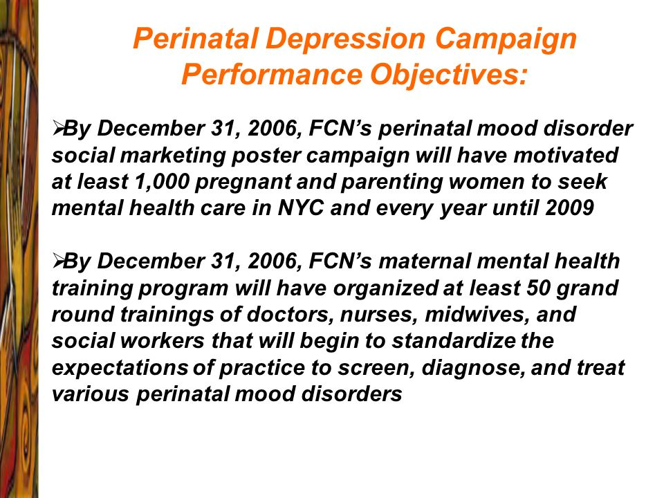 Perinatal Depression Campaign Performance Objectives: By December 31, 2006, FCNs perinatal mood disorder social marketing poster campaign will have mo