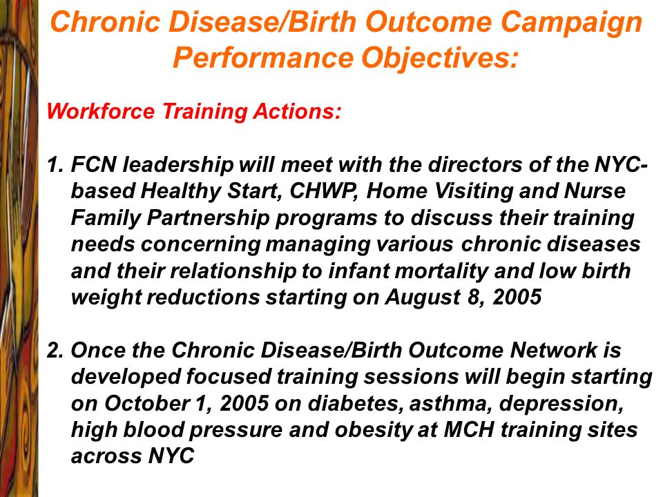 Chronic Disease/Birth Outcome Campaign Performance Objectives: Workforce Training Actions: 1.FCN leadership will meet with the directors of the NYC- b