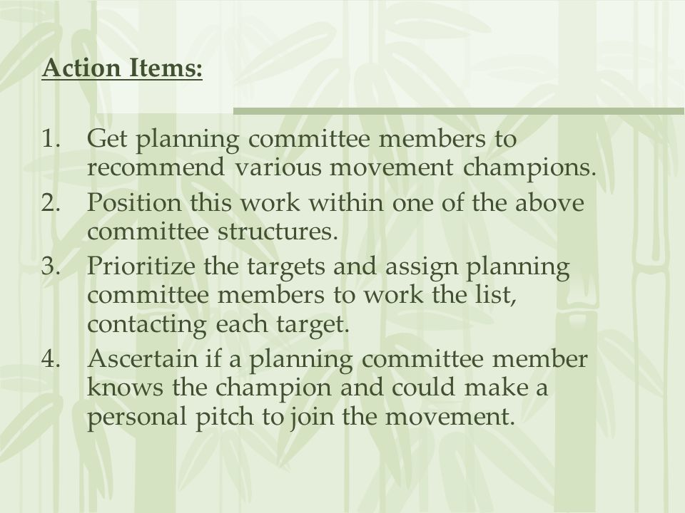 Action Items: 1.Get planning committee members to recommend various movement champions. 2.Position this work within one of the above committee structu