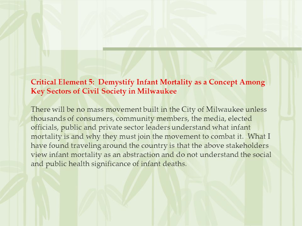 Critical Element 5: Demystify Infant Mortality as a Concept Among Key Sectors of Civil Society in Milwaukee There will be no mass movement built in th