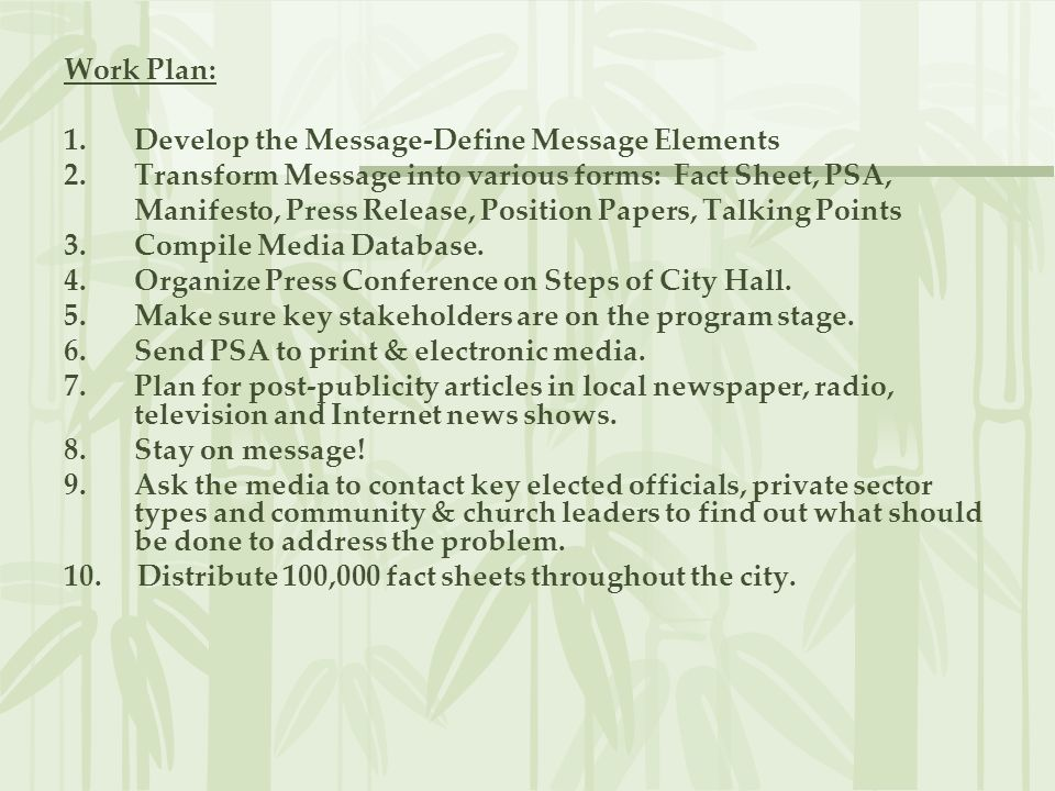 Work Plan: 1.Develop the Message-Define Message Elements 2.Transform Message into various forms: Fact Sheet, PSA, Manifesto, Press Release, Position P