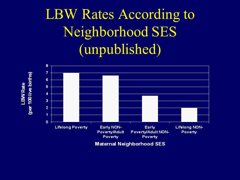 LBW Rates According to Neighborhood SES (unpublished)