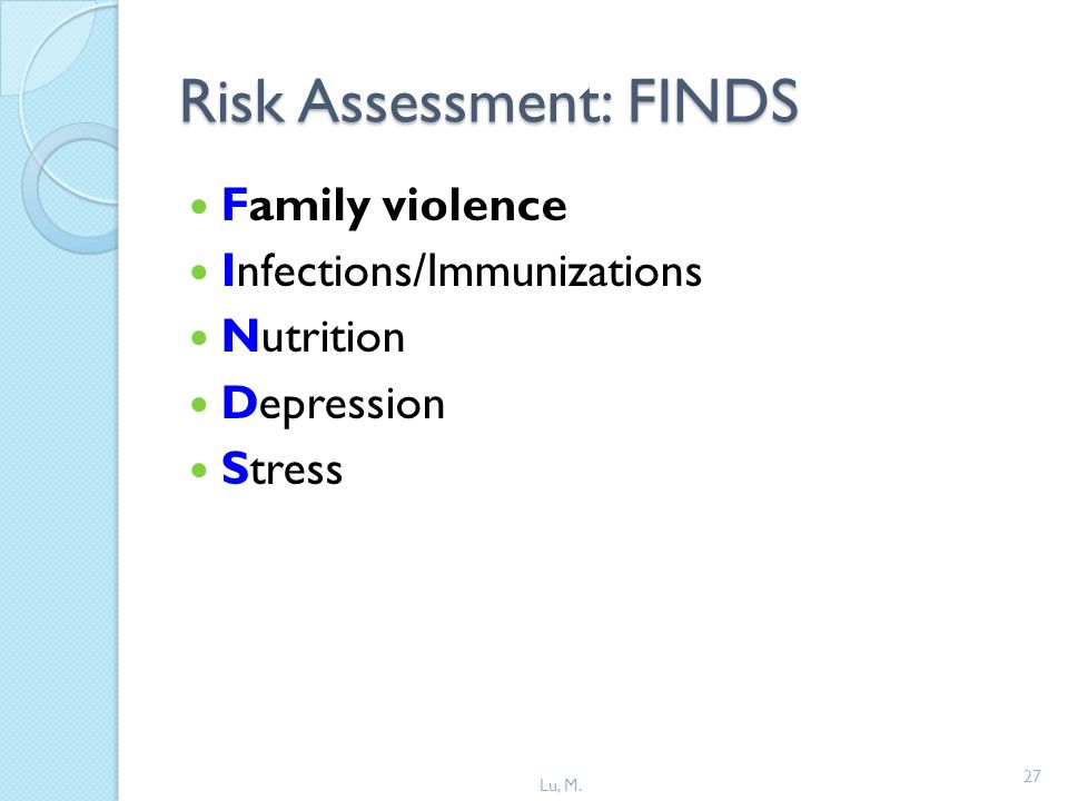 27 Risk Assessment: FINDS Family violence Infections/Immunizations Nutrition Depression Stress Lu, M.