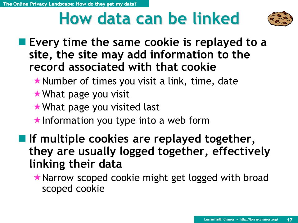 Lorrie Faith Cranor http://lorrie.cranor.org/ 17 How data can be linked Every time the same cookie is replayed to a site, the site may add information to the record associated with that cookie Number of times you visit a link, time, date What page you visit What page you visited last Information you type into a web form If multiple cookies are replayed together, they are usually logged together, effectively linking their data Narrow scoped cookie might get logged with broad scoped cookie The Online Privacy Landscape: How do they get my data