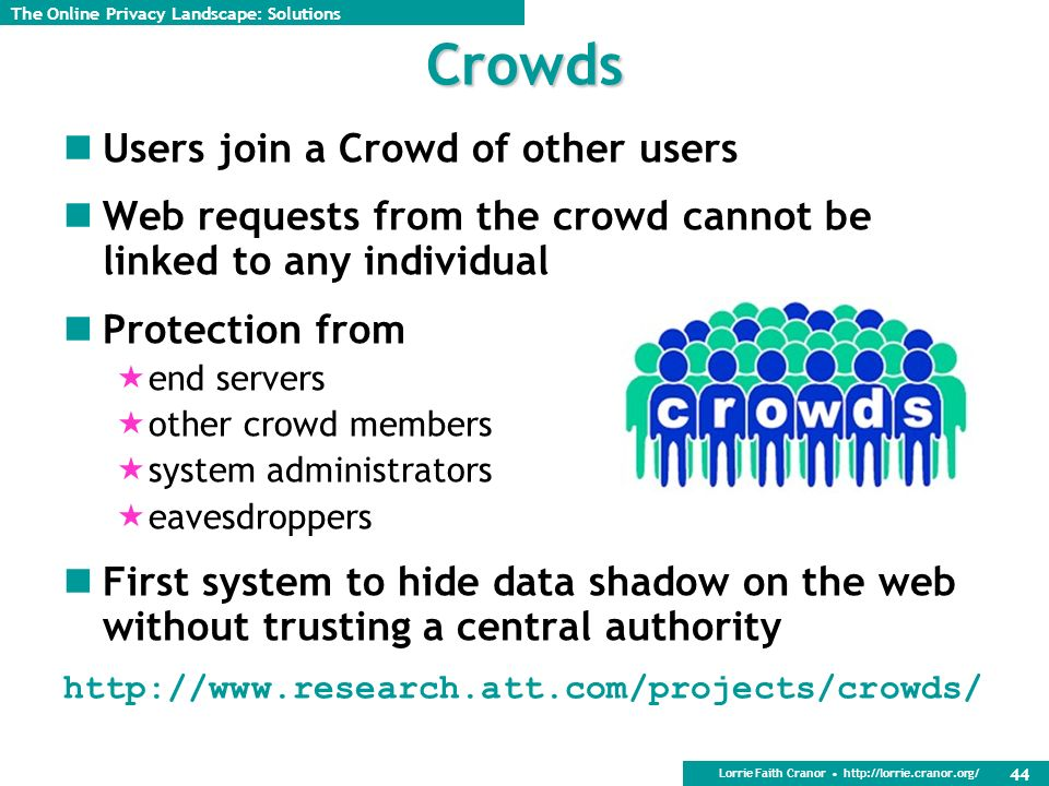Lorrie Faith Cranor http://lorrie.cranor.org/ 44 Crowds Users join a Crowd of other users Web requests from the crowd cannot be linked to any individual Protection from end servers other crowd members system administrators eavesdroppers First system to hide data shadow on the web without trusting a central authority http://www.research.att.com/projects/crowds/ The Online Privacy Landscape: Solutions