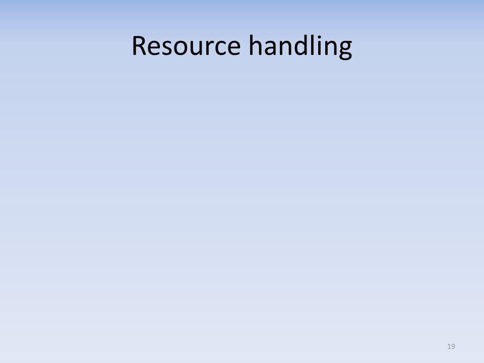 Resource handling 19
