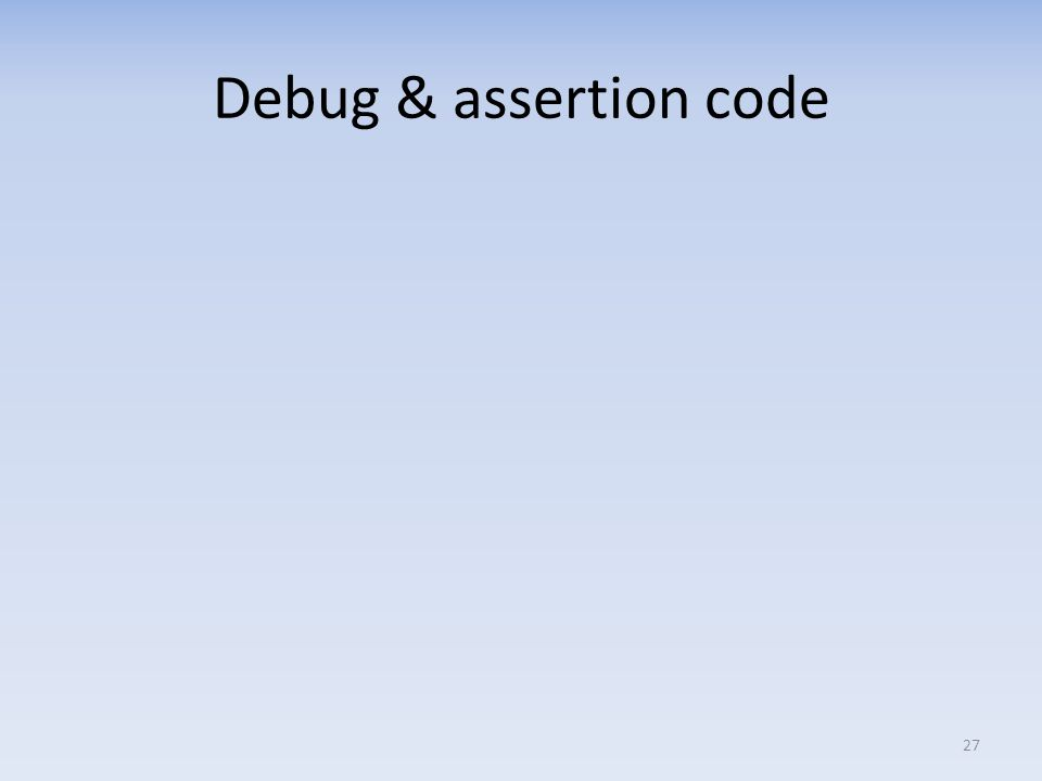 Debug & assertion code 27