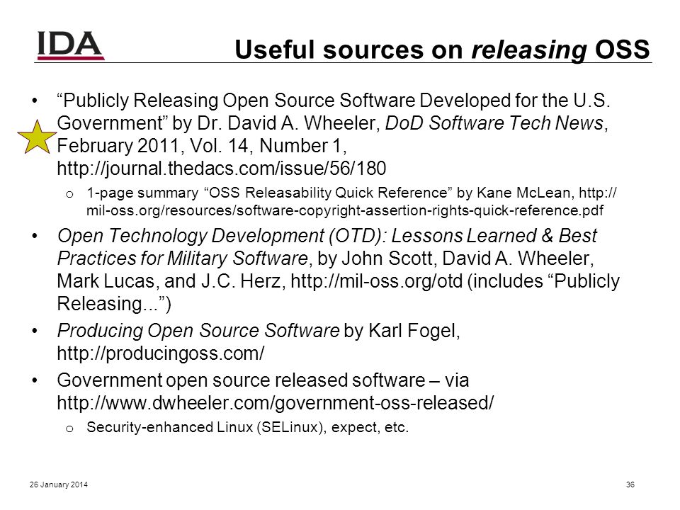 Now lets focus on releasing OSS 26 January 201435