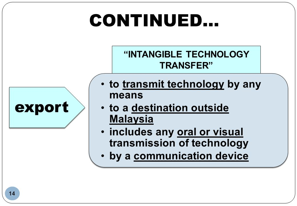 to transmit technology by any means to a destination outside Malaysia includes any oral or visual transmission of technology by a communication device