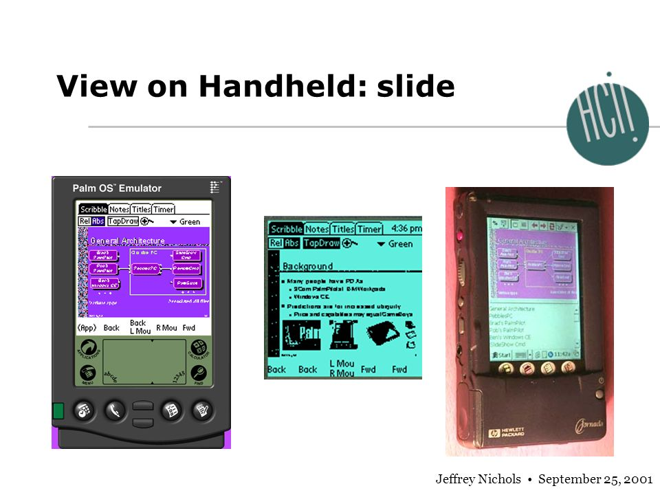 Jeffrey Nichols September 25, 2001 View on Handheld: slide