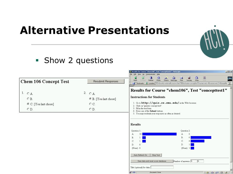 Jeffrey Nichols September 25, 2001 Alternative Presentations Show 2 questions
