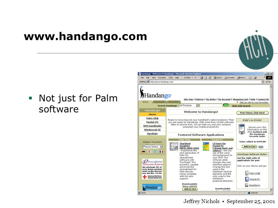 Jeffrey Nichols September 25, 2001 www.handango.com Not just for Palm software