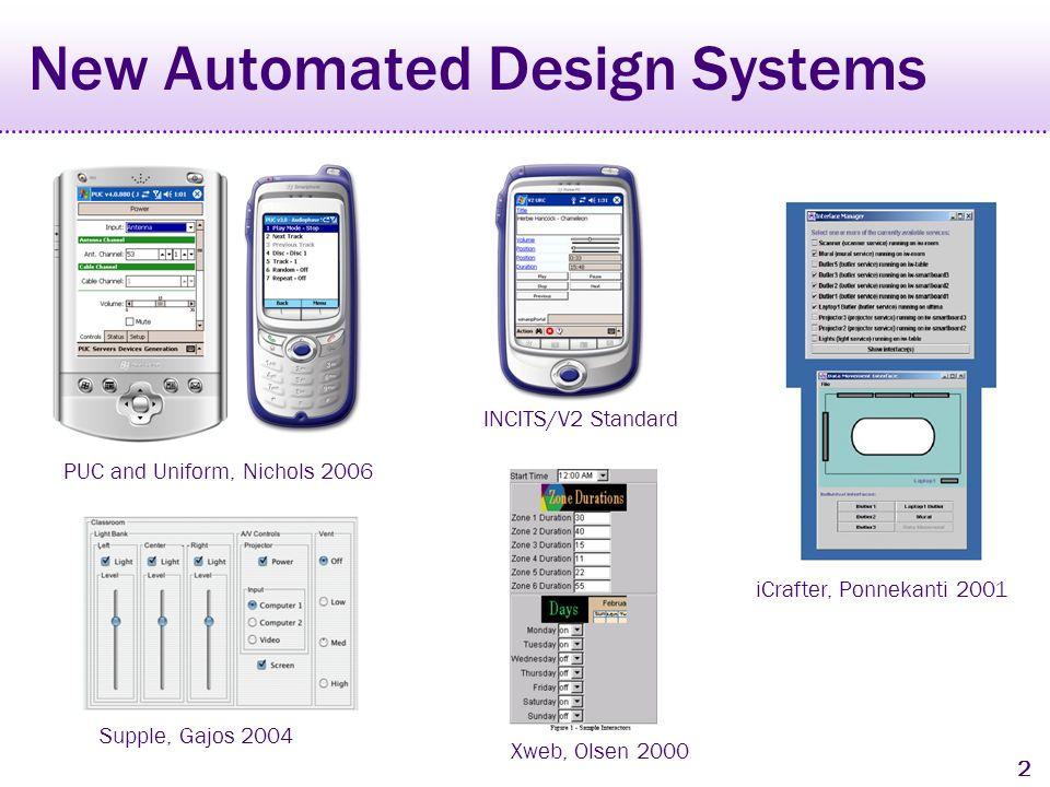 1 History of Automated Design ITS, Wiecha 1990 UIDE and Cartoonist, Sukaviriya 1994 Jade, Vander Zanden 1990 Humanoid, Szekely 1992