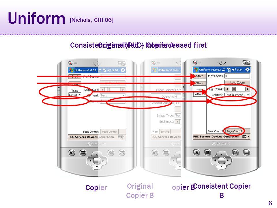 5 Uniform Copier A Copier B Original (PUC) Interfaces [Nichols, CHI 06]