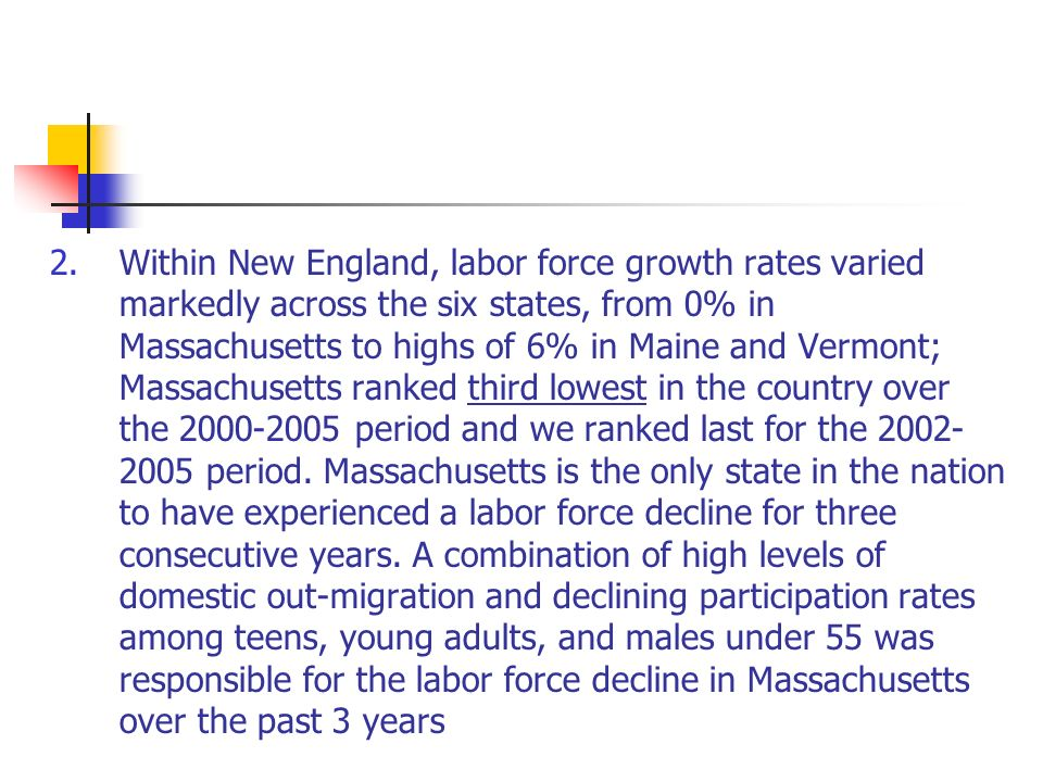 2.Within New England, labor force growth rates varied markedly across the six states, from 0% in Massachusetts to highs of 6% in Maine and Vermont; Massachusetts ranked third lowest in the country over the 2000-2005 period and we ranked last for the 2002- 2005 period.