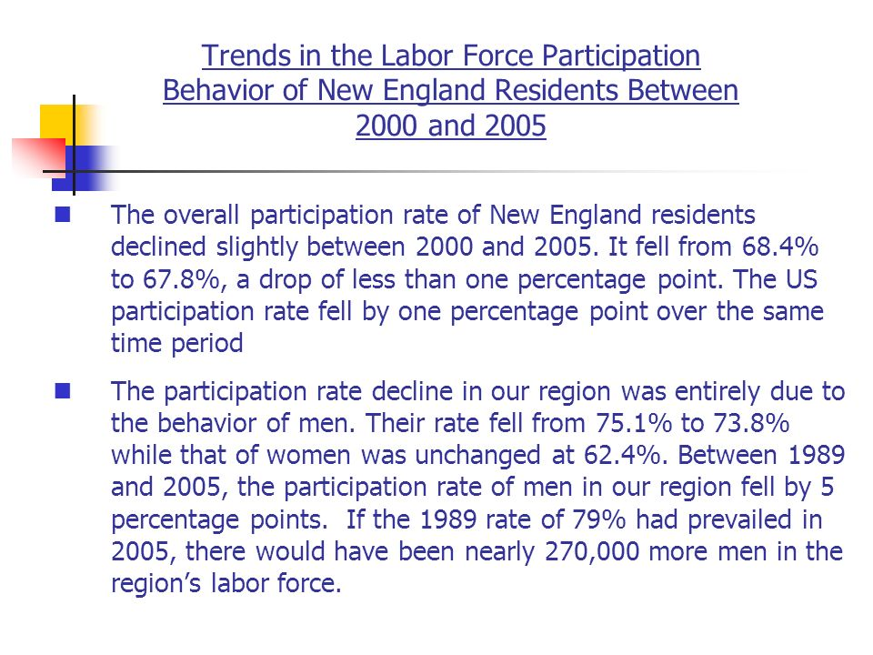 Trends in the Labor Force Participation Behavior of New England Residents Between 2000 and 2005 The overall participation rate of New England residents declined slightly between 2000 and 2005.