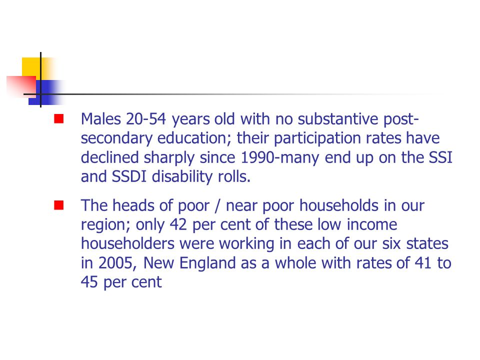 Males 20-54 years old with no substantive post- secondary education; their participation rates have declined sharply since 1990-many end up on the SSI and SSDI disability rolls.