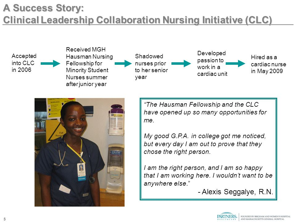 8 A Success Story: Clinical Leadership Collaboration Nursing Initiative (CLC) The Hausman Fellowship and the CLC have opened up so many opportunities