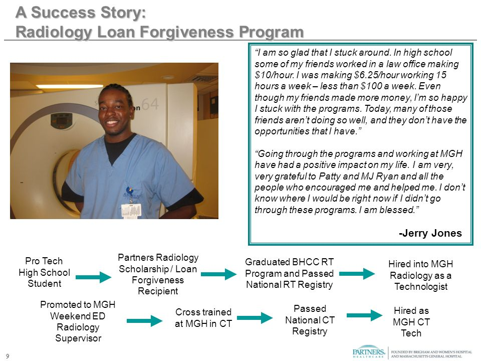 9 A Success Story: Radiology Loan Forgiveness Program I am so glad that I stuck around. In high school some of my friends worked in a law office makin