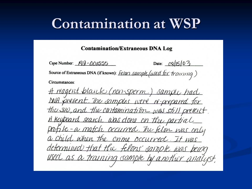 Contamination at WSP
