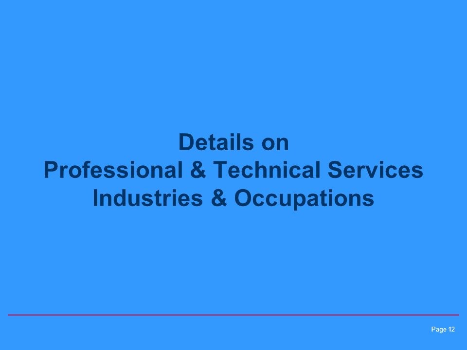Page 12 Details on Professional & Technical Services Industries & Occupations