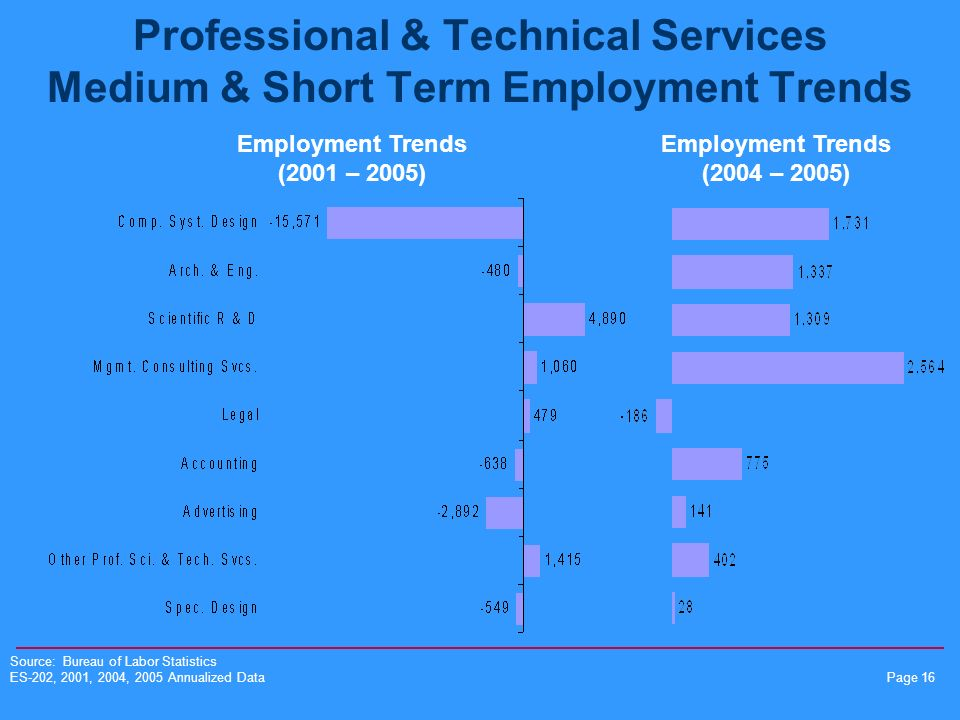Page 16 Professional & Technical Services Medium & Short Term Employment Trends Employment Trends (2001 – 2005) Employment Trends (2004 – 2005) Source: Bureau of Labor Statistics ES-202, 2001, 2004, 2005 Annualized Data