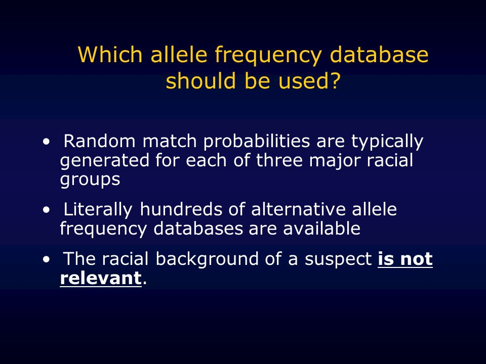 Which allele frequency database should be used.