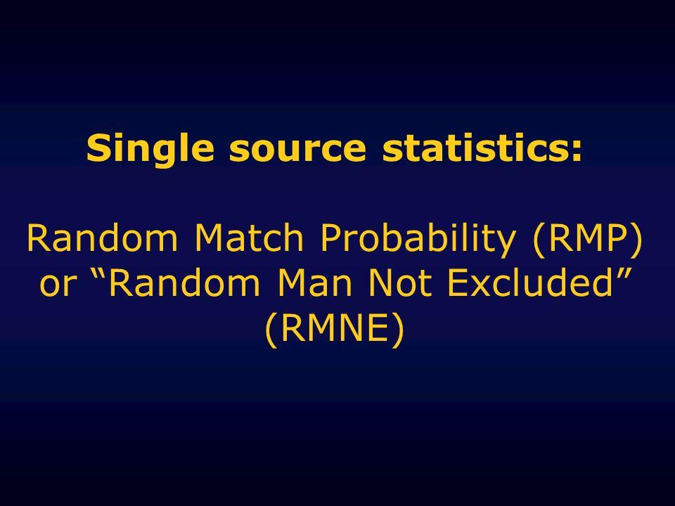 Single source statistics: Random Match Probability (RMP) or Random Man Not Excluded (RMNE)
