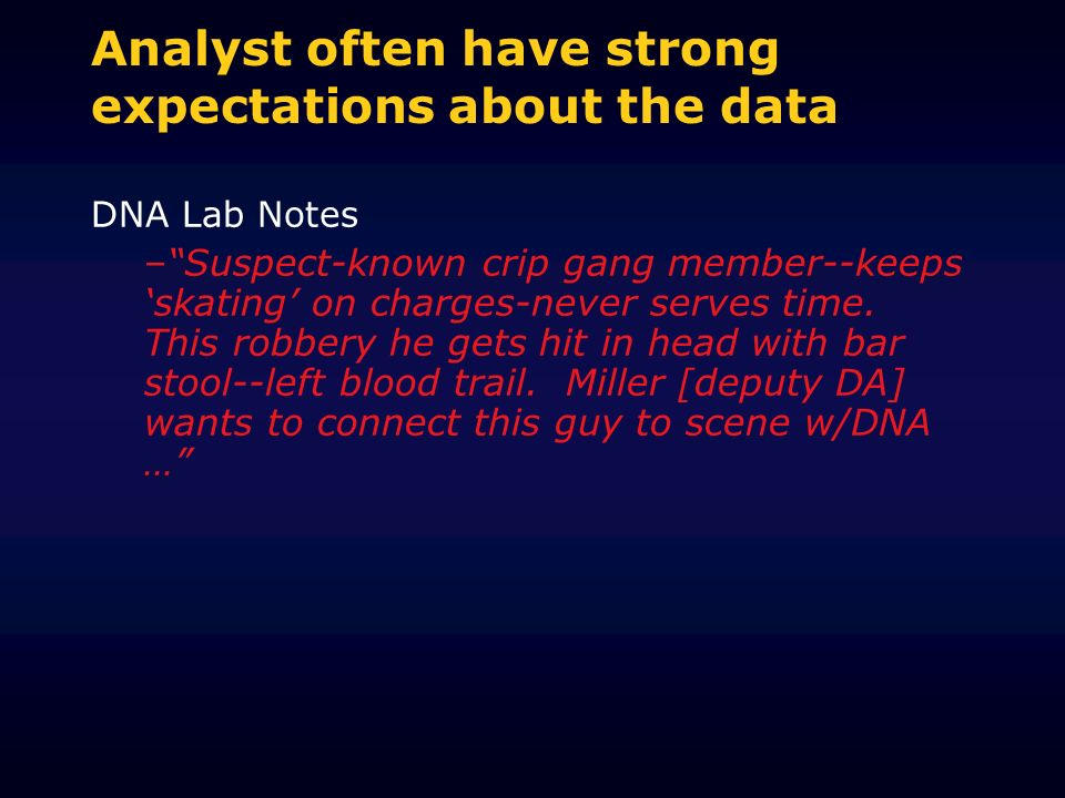 Analyst often have strong expectations about the data DNA Lab Notes –Suspect-known crip gang member--keeps skating on charges-never serves time. This