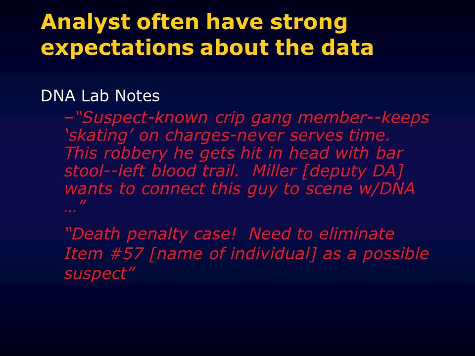 Analyst often have strong expectations about the data DNA Lab Notes –Suspect-known crip gang member--keeps skating on charges-never serves time.