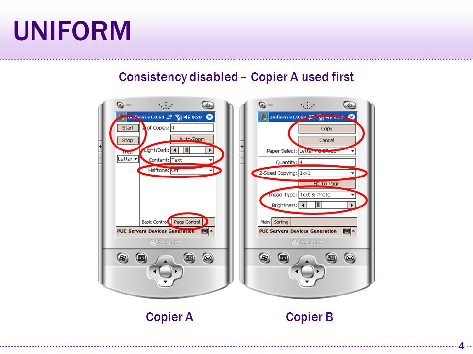 3 UNIFORM Generates personally consistent user interfaces Personal Mobile Devices Personal Universal Controller (PUC) system Appliances Specifications Control State Feedback
