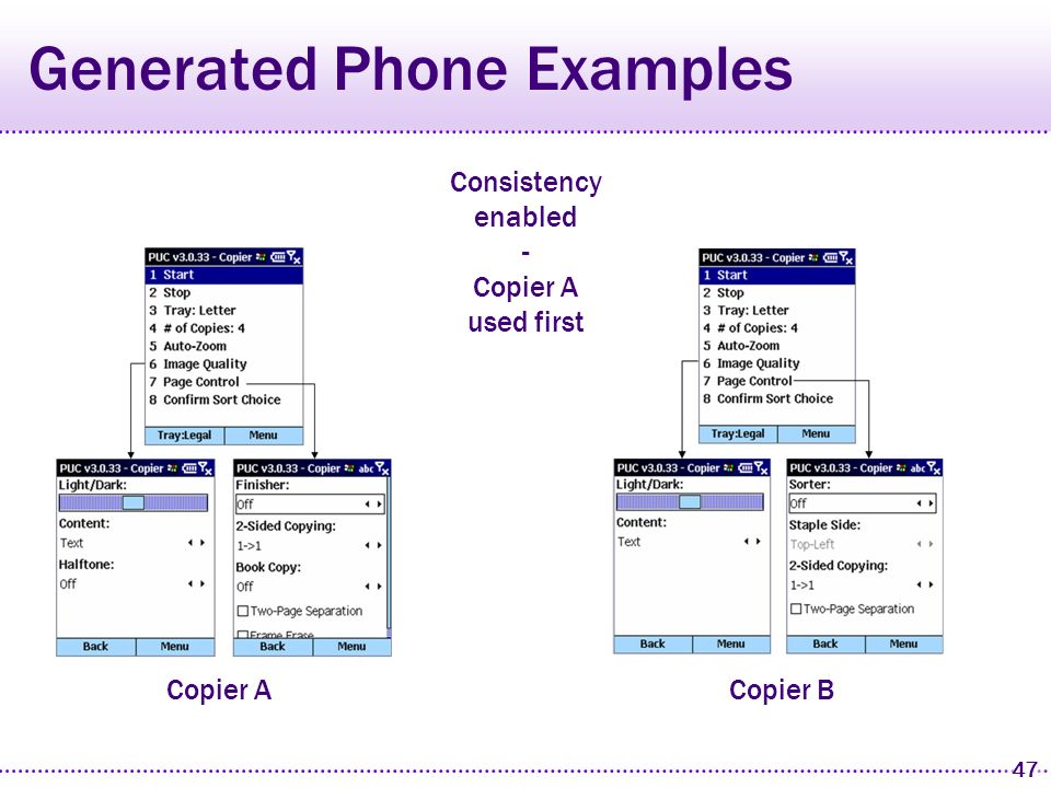 46 Generated Phone Examples Copier A Copier B Consistency disabled