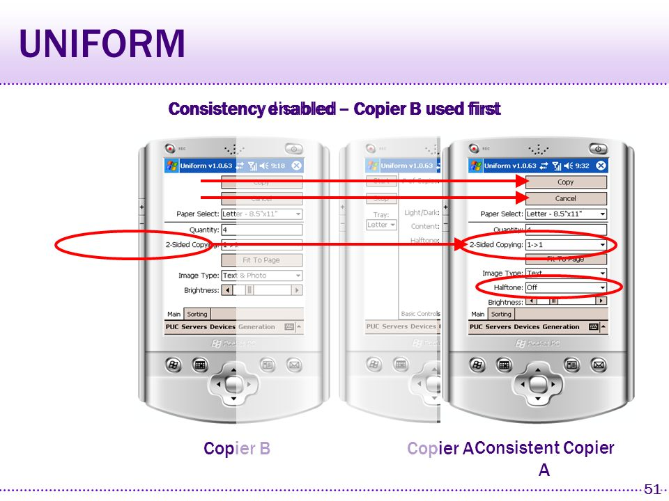 50 Copier A Copier B UNIFORM Consistency disabled – Copier B used firstConsistency disabled – Copier A used first