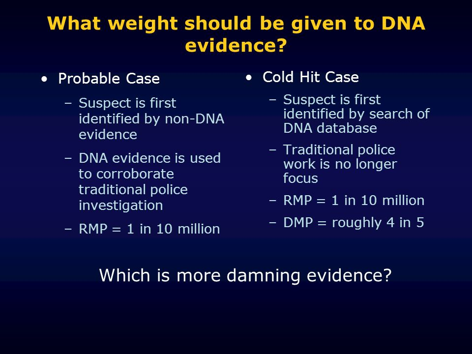 What weight should be given to DNA evidence? Probable Case –Suspect is first identified by non-DNA evidence –DNA evidence is used to corroborate tradi