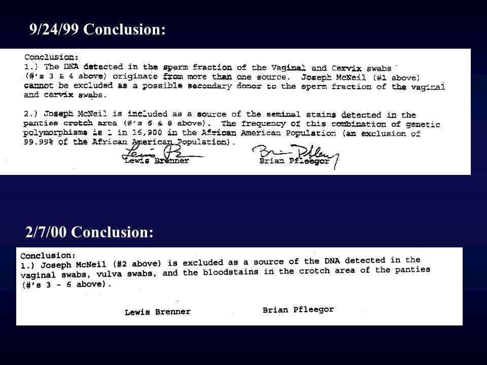 9/24/99 Conclusion: 2/7/00 Conclusion: