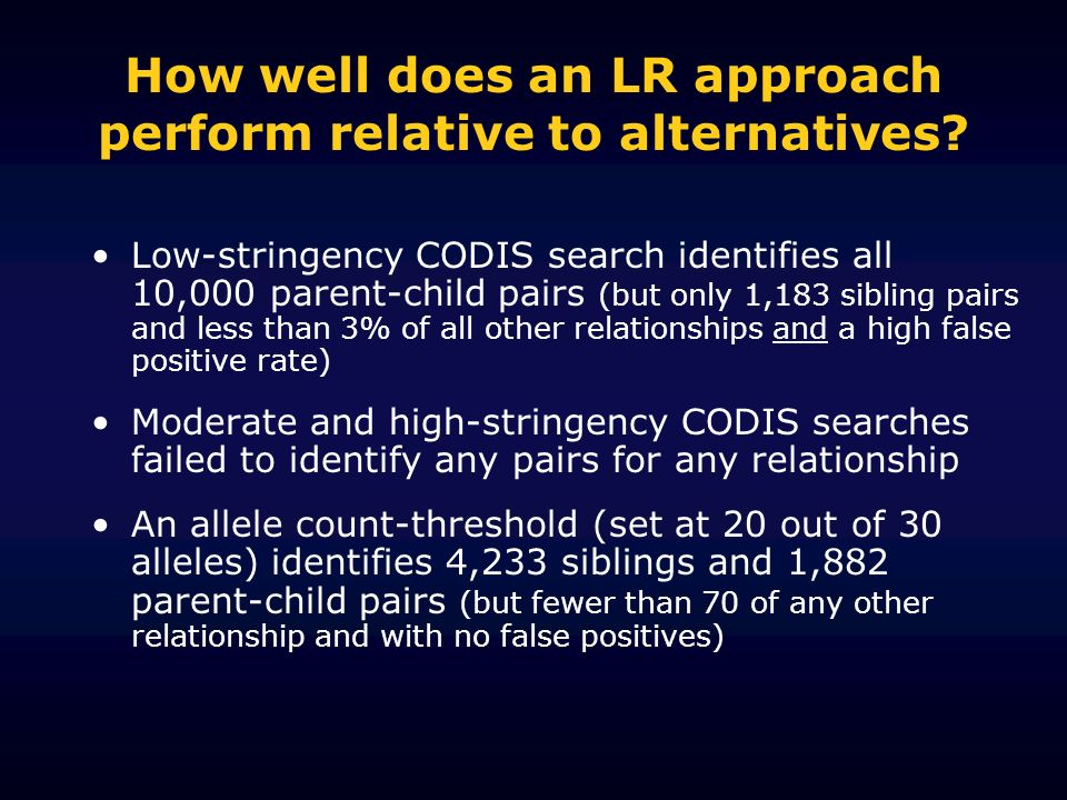 How well does an LR approach perform relative to alternatives? Low-stringency CODIS search identifies all 10,000 parent-child pairs (but only 1,183 si