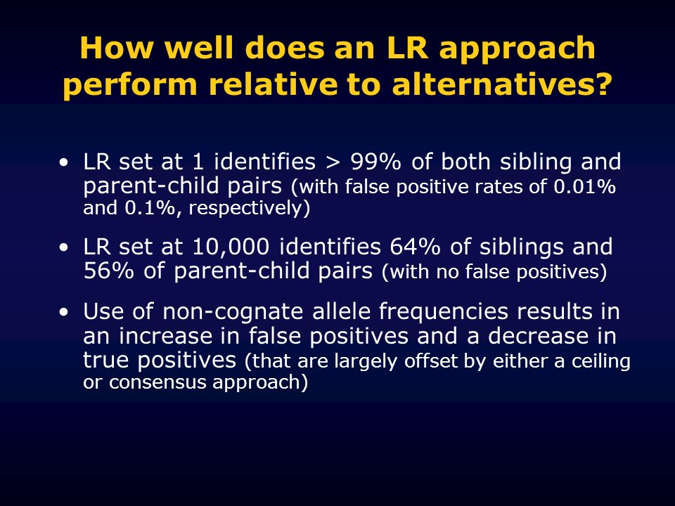 How well does an LR approach perform relative to alternatives? LR set at 1 identifies > 99% of both sibling and parent-child pairs (with false positiv