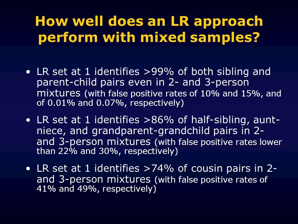 How well does an LR approach perform with mixed samples? LR set at 1 identifies >99% of both sibling and parent-child pairs even in 2- and 3-person mi