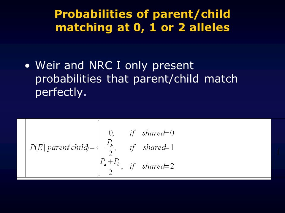 Probabilities of parent/child matching at 0, 1 or 2 alleles Weir and NRC I only present probabilities that parent/child match perfectly.