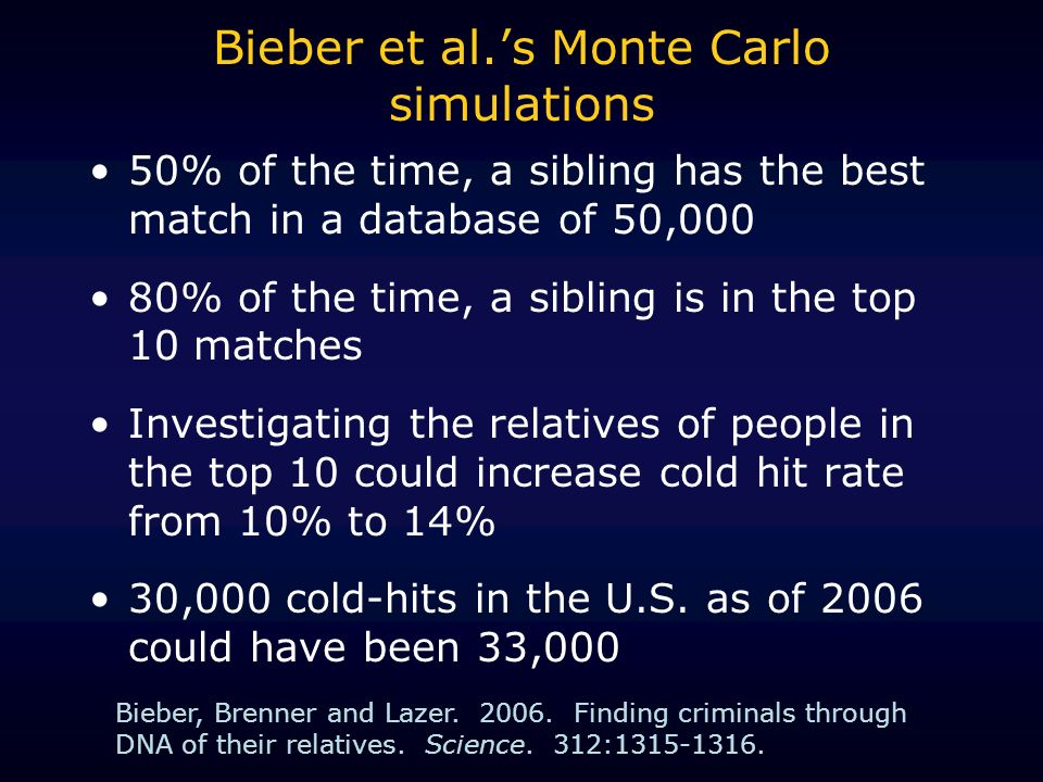 Bieber et al.s Monte Carlo simulations 50% of the time, a sibling has the best match in a database of 50,000 80% of the time, a sibling is in the top 10 matches Investigating the relatives of people in the top 10 could increase cold hit rate from 10% to 14% 30,000 cold-hits in the U.S.