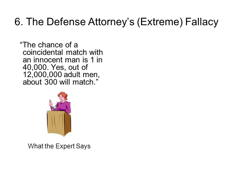 6. The Defense Attorneys (Extreme) Fallacy The chance of a coincidental match with an innocent man is 1 in 40,000. Yes, out of 12,000,000 adult men, a