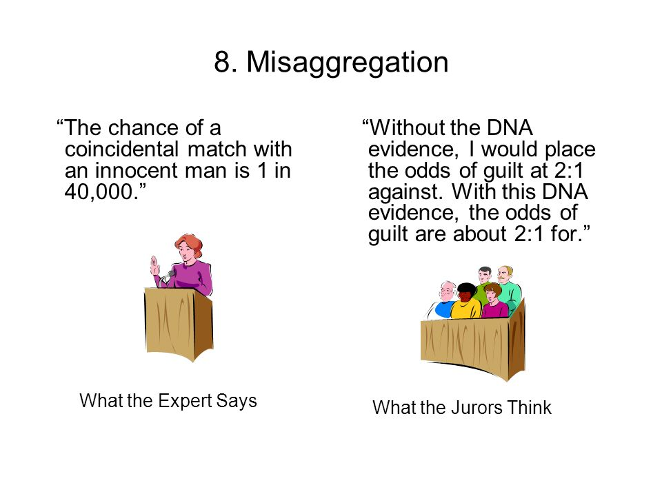 8. Misaggregation The chance of a coincidental match with an innocent man is 1 in 40,000.