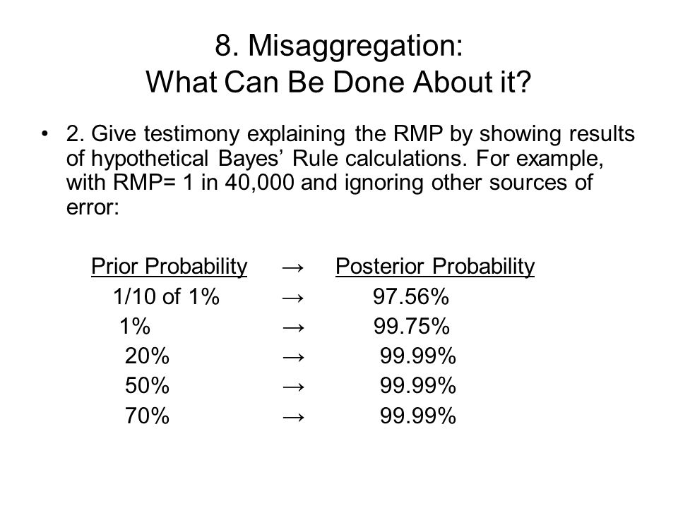 8. Misaggregation: What Can Be Done About it. 2.
