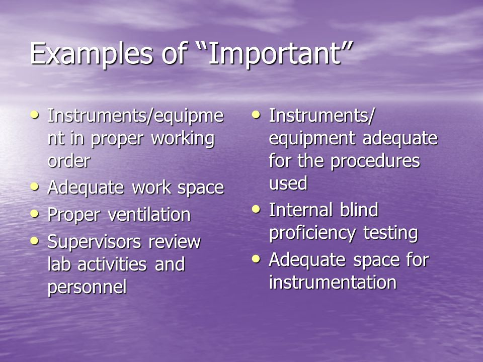 Examples of Important Instruments/equipme nt in proper working order Instruments/equipme nt in proper working order Adequate work space Adequate work space Proper ventilation Proper ventilation Supervisors review lab activities and personnel Supervisors review lab activities and personnel Instruments/ equipment adequate for the procedures used Instruments/ equipment adequate for the procedures used Internal blind proficiency testing Internal blind proficiency testing Adequate space for instrumentation Adequate space for instrumentation