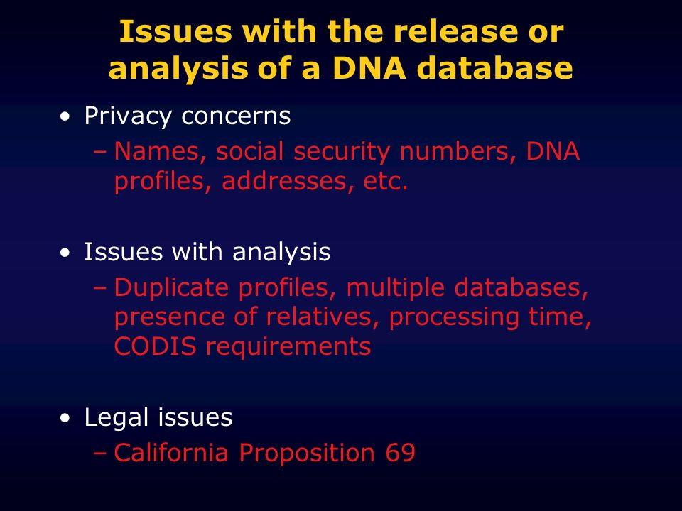 Issues with the release or analysis of a DNA database Privacy concerns –Names, social security numbers, DNA profiles, addresses, etc. Issues with anal