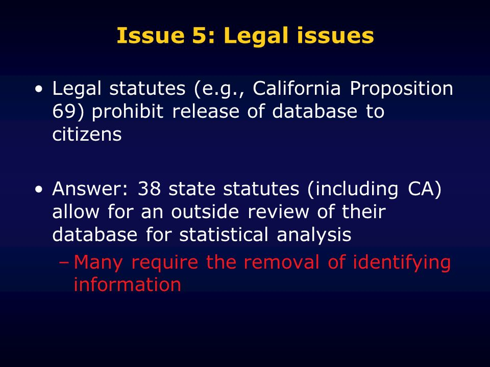 Issue 5: Legal issues Legal statutes (e.g., California Proposition 69) prohibit release of database to citizens Answer: 38 state statutes (including C