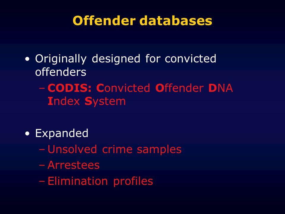 Offender databases Originally designed for convicted offenders –CODIS: Convicted Offender DNA Index System Expanded –Unsolved crime samples –Arrestees –Elimination profiles