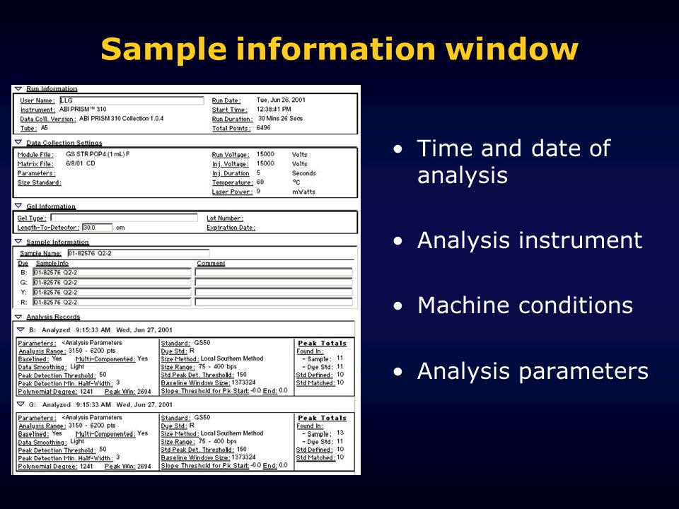 Sample information window Time and date of analysis Analysis instrument Machine conditions Analysis parameters